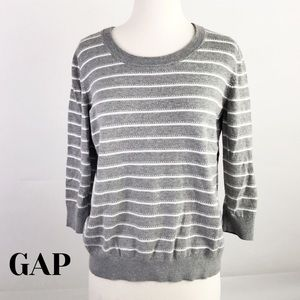 Gap Factory Gray & White Striped Sweater in Large
